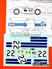Renaissance Models: Marking / livery 1/24 scale - Ferrari 250 Testa Rossa TR57 0732TR Lucybelle II #22 - Ed Hugus (US) + Ray Erickson (US) - 24 Hours Le Mans 1958 - water slide decals and assembly instructions - for Hasegawa kits
