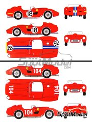 Renaissance Models: Marking / livery 1/24 scale - Ferrari 250 Testa Rossa TR57 right hand handle sn 0666 #18 - Gino Munaron (IT) + Wolfgang Seidel (DE), Dan Gurney (US) + Bruce Kessler (US) - 24 Hours Le Mans, Targa Florio 1958 - water slide decals and assembly instructions - for Hasegawa kits