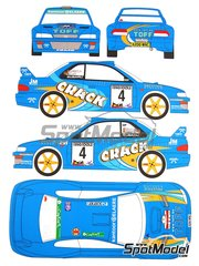 Renaissance Models: Calcas de agua escala 1/24 - Subaru WRC 22b Crack Teng Tools Nº 4 - Pol Lietaer (BE) + Kristof Dejonghe (BE) - Rally Omloop Van Vlaanderen  2008 - para las referencias de Tamiya TAM24218 y 24218