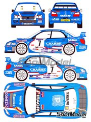 Renaissance Models: Decals 1/24 scale - Subaru Impreza S10 Crabbe Gomez #7 - Hubert Deferm (BE) + John Lavaerts (BE) - Condroz Rally 2008 - for Tamiya reference TAM24281