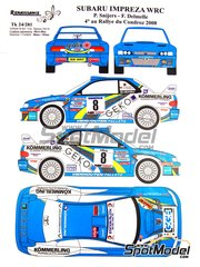 Renaissance Models: Marking / livery 1/24 scale - Subaru Impreza WRC 22B Kommerling Grafix #8 - Patrick Snijers (BE) + Delmelle - Condroz Rally 2008 - water slide decals, assembly instructions and painting instructions - for Tamiya references TAM24218 and 24218