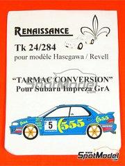 Renaissance Models: Set de conversión a asfalto escala 1/24 - Subaru Impreza Grupo A - llantas, neumaticos, discos de freno y amortiguacion - para kit de Hasegawa o de Revell