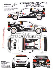 Renaissance Models: Marking / livery 1/24 scale - Citroen Xsara WRC Lunde Marine Group #11 - Petter Solberg (NO) + Phil Mills (GB) - Norway rally 2009 - resin parts, water slide decals and assembly instructions - for Heller reference 80769
