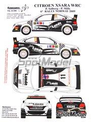 Renaissance Models: Decoración escala 1/24 - Citroen Xsara WRC Lunde Marine Group Nº 11 - Petter Solberg (NO) + Phil Mills (GB) - Rally de Noruega 2009 - piezas de resina, calcas de agua y manual de instrucciones - para la referencia de Heller 80769