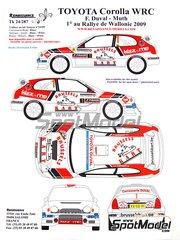 Renaissance Models: Calcas de agua escala 1/24 - Toyota Corolla WRC Nº 1 - François Duval (BE) + John Muth (BE) - Rally Valonia 2009 - para la referencia de Tamiya TAM24209