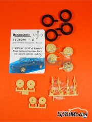 Renaissance Models: Tarmac conversion set 1/24 scale - Subaru Impreza Group A - Subaru Legacy Group A - resin parts and rubber parts - for Hasegawa references 20290, 20297, 20311, 20353, 25007, CR-7, 25014, CR-14, 25017, CR-17, 25063, CR-103, 25065, CR-105, 25067, CR-107, 25068, CR-108, HACR35, 25035 and CR-35, or Heller reference 80750