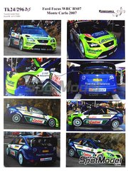 Renaissance Models: Decals 1/24 scale - Ford Focus WRC RS07 BP Ultimate #3, 4 - Marcus Grönholm (FI), Mikko Hirvonen (FI) - Montecarlo Rally - Rallye Automobile de Monte-Carlo 2007 - for SimilR reference SIMILR-121001