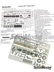 Renaissance Models: Detail up set 1/24 scale - Porsche 935 Moby Dick - photo-etched parts and assembly instructions - for Tamiya references TAM24318 and 24318