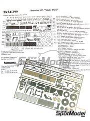 Renaissance Models: Set de mejora y detallado escala 1/24 - Porsche 935 Moby Dick - fotograbados y manual de instrucciones - para las referencias de Tamiya TAM24318 y 24318