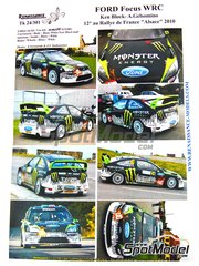 Renaissance Models: Decals 1/24 scale - Ford Focus RS09 Monster Energy #43 - Ken Block (US) + Alessandro Gelsomino (IT) - Alsace - Vosges Rally 2010 - for SimilR reference SIMILR-121001