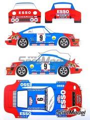 Renaissance Models: Decoración escala 1/24 - Porsche 911 SC Esso Almeras Nº 9 - Jean-Luc Thérier (FR) + Michel Vial (FR) - Rally Tour de Corse 1980 - calcas - para kits de Heller y Esci