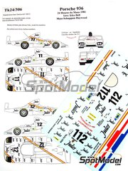 Renaissance Models: Marking / livery 1/24 scale - Porsche 936 Jules #11, 12 - Jacques Bernard 'Jacky' Ickx (BE) + Derek Bell (GB), Jochen Mass (DE) + Vern Schuppan (AU) + Hurley Haywood (US) - 24 Hours Le Mans 1981 - water slide decals and assembly instructions - for Tamiya reference TAM24012