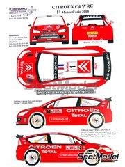 Renaissance Models: Decoración escala 1/24 - Citroen C4 WRC Total Nº 1, 2 - Sebastien Loeb (FR), Daniel 'Dani' Sordo (ES) - Rally de Montecarlo 2008 - calcas de agua, manual de instrucciones e instrucciones de pintado - para la referencia de Heller 80756