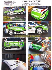 Renaissance Models: Calcas de agua escala 1/24 - Citroen C4 WRC Structo Nº 1 - Pieter Tsjoen (BE) + Eddy Chevaillier (BE) - Rally Valonia 2011 - para la referencia de Heller 80756
