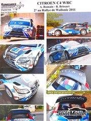Renaissance Models: Decoración escala 1/24 - Citroen C4 WRC Cezam Nº 4 - Alexandre Romain (BE) + Bruno Brissart (FR) - Rally Valonia 2011 - calcas de agua, manual de instrucciones e instrucciones de pintado - para la referencia de Heller 80756