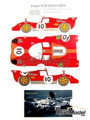 Renaissance Models: Marking / livery 1/24 scale - Ferrari 512S Gelo Racing Team #10 - 24 Hours Le Mans 1970 - water slide decals and assembly instructions - for Fujimi references FJ12385, FJ123851 and 123851