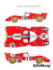 Renaissance Models: Marking / livery 1/24 scale - Ferrari 512S Scuderia Filipinetti #16 - 24 Hours Le Mans 1970 - water slide decals and assembly instructions - for Fujimi references FJ12385, FJ123851 and 123851