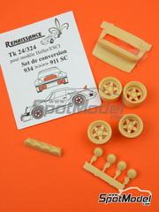 Renaissance Models: Transkit 1/24 scale - Porsche 934 to Porsche 911 SC - resins: spoiler, rims and lights - for Heller reference 80714, or Revell references REV07031 and REV07032, or Tamiya references TAM24328 and TAM24334