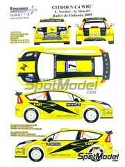 Renaissance Models: Decals 1/24 scale - Citroen C4 WRC E-Art #7 - Evgeniy Novikov (RU) - 1000 Lakes Finland Rally 2009 - for Heller reference 80756