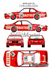 Renaissance Models: Marking / livery 1/24 scale - BMW 635 Csi Bastos #21 - Hubert Hahne (DE) + Hans Heyer (DE), Thierry Tassin (BE) - 24 Hours SPA Francorchamps 1983 - water slide decals and assembly instructions - for Tamiya references TAM24322 and 24322