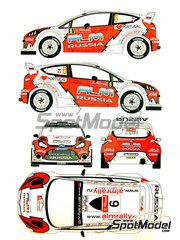 Renaissance Models: Decals 1/24 scale - Ford Fiesta WRC ALM Russia #6 - Evgeniy Novikov (RU) + Denis Giraudet (FR) - Portugal Rally 2012 - for Belkits kits BEL-003
