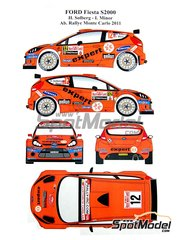 Renaissance Models: Marking / livery 1/24 scale - Ford Fiesta S2000 Expert #12 - Henning Solberg (NO) + Ilka Minor-Petrasko (AT) - Montecarlo Rally 2011 - water slide decals and assembly instructions - for Belkits reference BEL-002