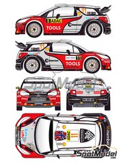 Renaissance Models: Decals 1/24 scale - Citroen DS3 WRC Entercard #11 - Petter Solberg (NO) + Chris Patterson (GB) - ADAC Deutschland Rally, Alsace France Rally 2011 - for Heller references 80757 and 80758