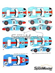 Renaissance Models: Marking / livery 1/24 scale - Ford GT 40 Gulf #6, 9, 10, 11, 7 - Paul Hawkins (AU) + David Hobbs (GB), Pedro Rodriguez (MX) + Lucien Bianchi (BE), Jacques Bernard 'Jacky' Ickx (BE) + Jackie Oliver (GB), Jackie Oliver (GB) + Brian Muir (AU), David Hobbs (GB) + Mike Hailwood (GB) - 24 Hours Le Mans 1968 and 1969 - water slide decals and assembly instructions - for Fujimi references FJ12130, FJ12131 and FJ12605