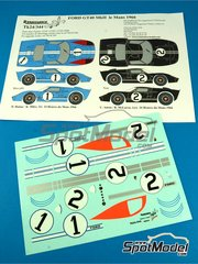 Renaissance Models: Marking / livery 1/24 scale - Ford GT40 Mk II #1, 2 - Denis Clive 'Denny' Hulme (NZ) + John Miles (GB), Chris Amon (NZ) + Bruce McLaren (NZ) - 24 Hours Le Mans 1966 - water slide decals and assembly instructions - for Fujimi references FJ126043 and FJ126067
