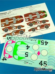 Renaissance Models: Marking / livery 1/24 scale - Ford GT40 Mk II #4, 5 - Ronnie Bucknum (US) + Dick Hutcherson (US), Mark Donohue (US) + Paul Hawkins (AU) - 24 Hours Le Mans 1966 - water slide decals and assembly instructions - for Fujimi references FJ126043, 126043, RS-32, FJ126067, 126067 and RS-51
