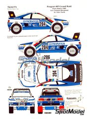 Renaissance Models: Decals 1/24 scale - Peugeot 405 Turbo 16 Pionner #204, 206 - Ari Vatanen (FI) + Bruno Berglund (SE), Jacques Bernard 'Jacky' Ickx (BE) + Christian Tarin (FR) - Paris Dakar Rally 1989 - for Tamiya kit TAM24092 image