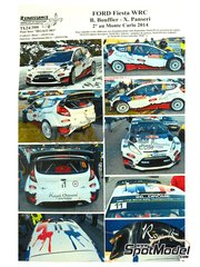 Renaissance Models: Decals 1/24 scale - Ford Fiesta WRC Royal Bernard #11 - Bryan Bouffier (FR) + Xavier Panseri (FR) - Montecarlo Rally - Rallye Automobile de Monte-Carlo 2014 - for Belkits references BEL-002 and BEL-003 image