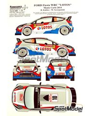Renaissance Models: Decals 1/24 scale - Ford Fiesta WRC Lotos #10 - Robert Kubica (PL) + Maciej Szczepaniak (PL) - Montecarlo Rally 2014 - for Belkits references BEL-002 and BEL-003 image