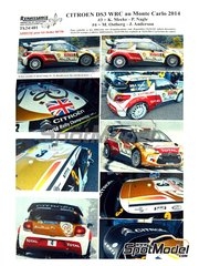 Renaissance Models: Marking / livery 1/24 scale - Citroen DS3 WRC Abu Dhabi #3, 4 - Kris Meeke (GB) + Paul Nagle (IE), Mads Ostberg (NO) + Ove Andersson (SE) - Montecarlo Rally 2014 - water slide decals and assembly instructions - for Heller reference 80758 image