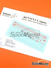 Renaissance Models: Marking / livery 1/24 scale - Renault R5 Alpine - water slide decals and assembly instructions - for ESCI reference 3016, or Italeri references 3652 and ITA3695