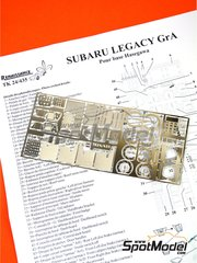Renaissance Models: Detail up set 1/24 scale - Subaru Legacy RS Group A - photo-etched parts and assembly instructions - for Hasegawa kit 20290