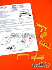 Renaissance Models: Transkit 1/24 scale - BMW M3 E30 Rally Group A - metal parts, resin parts, rubber parts, turned metal parts and assembly instructions - for Beemax Model Kits references B24007, B24016 and B24019