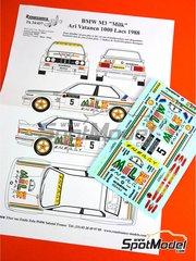 Renaissance Models: Marking / livery 1/24 scale - BMW M3 E30 Milk Energy #5 - Ari Vatanen (FI) + Bruno Berglund (SE) - 1000 Lakes Finland Rally 1988 - water slide decals and assembly instructions - for Beemax Model Kits kit B24007 image