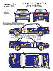 Renaissance Models: Marking / livery 1/24 scale - Subaru Legacy Group A #8 - Colin McRae (GB) + Derek Ringer (GB) - Tour de Corse 1993 - water slide decals and assembly instructions - for Hasegawa kit 20290