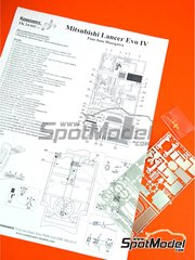 Renaissance Models: Detail up set 1/24 scale - Mitsubishi Lancer Evolution IV - photo-etched parts and assembly instructions - for Hasegawa kit 20310