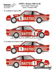 Renaissance Models: Marking / livery 1/24 scale - Opel Manta 400 Group B Dealer Opel Bastos Team #1, 5 - Guy Colsoul (BE) + Alain Lopes (BE) - Condroz Rally, Ypres Rally 1984 - water slide decals, assembly instructions and painting instructions - for Belkits references BEL008 and BEL009 image