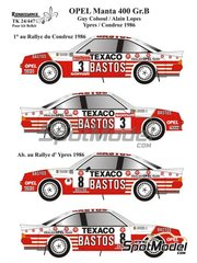 Renaissance Models: Marking / livery 1/24 scale - Opel Manta 400 Group B Texaco Bastos #3, 8 - Guy Colsoul (BE) + Alain Lopes (BE) - Condroz Rally, Ypres Rally 1986 - water slide decals, assembly instructions and painting instructions - for Belkits references BEL008 and BEL009 image