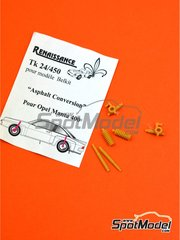 Renaissance Models: Tarmac conversion set 1/24 scale - Opel Manta 400 Group B - resin parts - for Belkits references BEL008, BEL-008, BEL009 and BEL-009