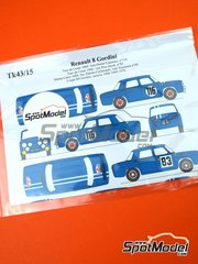 Renaissance Models: Decals 1/43 scale - Renault 8 Gordini - Pierre Orsini (FR) + Jean-Baptiste Canonici (FR) - Montecarlo Rally, Tour de Corse 1965 - 1970 - for Wave, Heller, Union kits