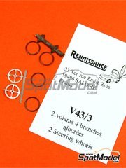 Renaissance Models: Detail 1/43 scale - Steering wheels - 4 spokes  - photo-etched parts and resins - 2 units