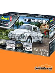 Revell: Model car kit 1/16 scale - Volkswagen Beetle Käfer Type 1 1951 and 1952 - plastic parts, rubber parts, water slide decals, other materials, assembly instructions and painting instructions image