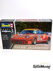Revell: Model car kit 1/24 scale - Porsche 934 RSR Jägermeister #53 - European GT Championship - plastic parts, water slide decals and assembly instructions