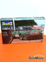 Revell: Model car kit 1/24 scale - Porsche 934 Turbo RSR Group 4 Vaillant Kremer #9 - European GT Championship - plastic parts, rubber parts, water slide decals and assembly instructions image