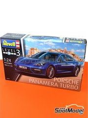 Revell: Model car kit 1/24 scale - Porsche Panamera Turbo - plastic parts, rubber parts, water slide decals and assembly instructions image