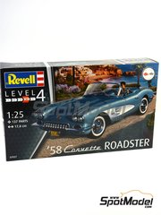 Revell: Model car kit 1/25 scale - Chevrolet Corvette Roadster 1968 - plastic parts, rubber parts, water slide decals and assembly instructions